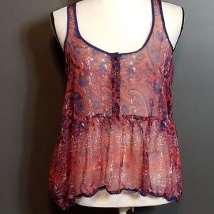 EXOTE Urban Outfitters Red/Blue Sheer babydoll top